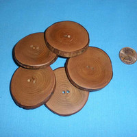 """5 Large Wood Buttons 2 1/8"""" - 2 1/4"""", Sycamore Tree Branch, Rustic Wooden Decorative Embellishment for Knitting Crochet Fiber Arts"""