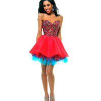 Red & Blue Strapless Sequin Tulle Tutu Homecoming Dress - Unique Vintage - Cocktail, Pinup, Holiday & Prom Dresses.