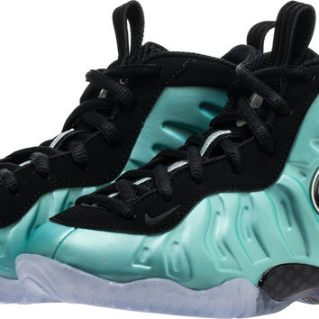 AIR FOAMPOSITE PRO PRESCHOOL LIFESTYLE SHOE (GREEN/SILVER PLATINUM GREY)