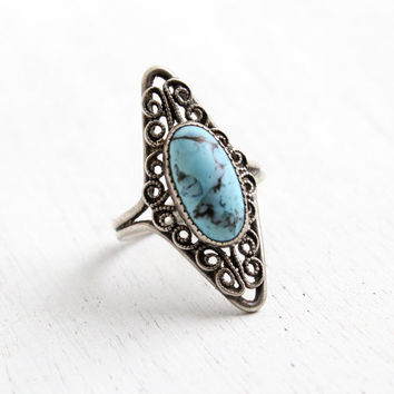 Vintage Sterling Silver Simulated Turquoise Ring - Retro Filigree Hallmarked Beau Adjustable Marbled Blue Glass Stone Jewelry