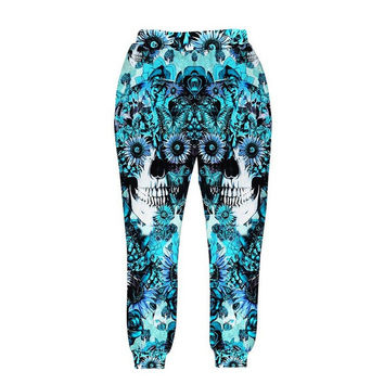 Skulls printing men/women 3d pant print blue roses Sunflower and butterfly long trousers joggers autumn clothes