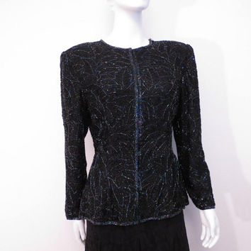 Vintage 80s 90s Beaded Jacket by Night Vogue Evening Jacket Fitted Black and Blue Iridescent Beads S to M