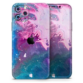 Blue & Pink Acrylic Abstract Paint - Skin-Kit for the Apple iPhone 11, 11 Pro or 11 Pro Max