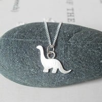 Teeny Tiny Silver Dinosaur Necklace