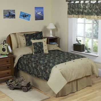 Sweet Jojo Designs 4-Piece Army Green Camo Children's Boys Twin Bedding Set