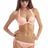 Heat Rave Peach  Jeweled Bikini