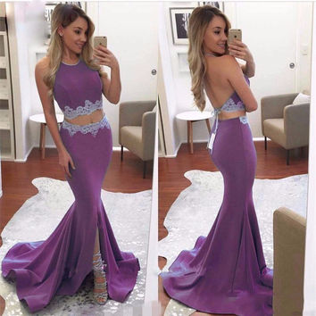 Two Piece Purple Ciffon Long Evening Prom Dresses 2017 Halter Appliqued Backless Formal Evening Party Gowns Robe De Soiree EF60