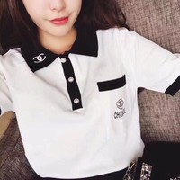 """Chanel"" Women Fashion Multicolor Lapel Letter Embroidery Short Sleeve Knit Polo Shirt Casual Tops"