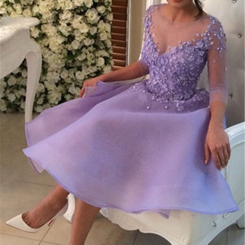 Purple Homecoming Dresses, Long Sleeves Party Dress with Flowers