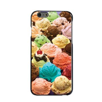 DistinctInk® Hard Plastic Snap-On Case for Apple iPhone - Ice Cream Scoops Cones