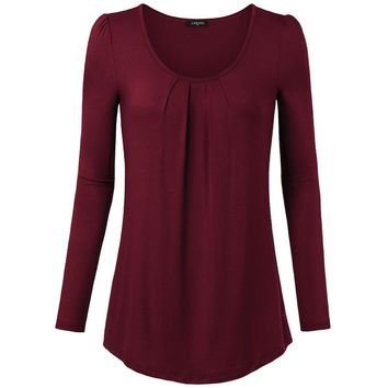 Casual Loose Long Sleeve T Shirt Women Tunic Tops Autumn Pleated Female T-shirt Scoop Neck Knitted Tee Shirt