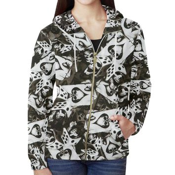 Dice and Spades Skulls Women's All Over Print Full Zip Hoodie