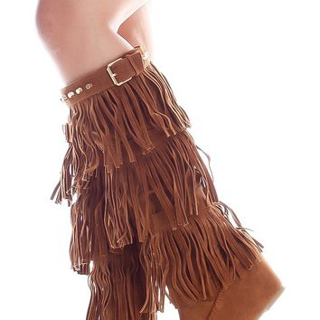 TAN FRINGE SUEDE MATERIAL TOP BUCKLE STUDDED ACCENT KNEE HIGH BOOTS
