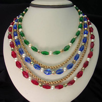 Crown Trifari Glass Necklace Pearl Red Blue Green Gold Bead Five Strand Gold Plate Serpentine Chain