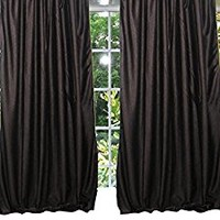 "Mogul Curtains Window Panel Coffee Brown Tab Top Sari Drapes- Pair Window Treatment (Size: Length: 96"".)"