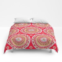 Mandala Burst in Red Comforters by Sarah Oelerich