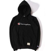 Champion Fashion Casual title logo three-dimensional embroidery sweethearts outfit fleece and wool thickening hooded fleece Black