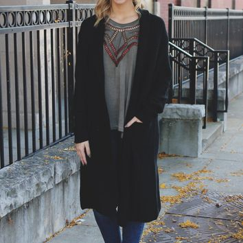 Chill of Fall Cardigan - Black