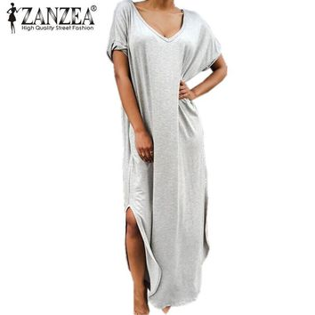 ZANZEA Summer Maxi Long Dress Women V neck Short Sleeve Side Split Vestidos Plus Size Female Solid Casual Loose Dresses
