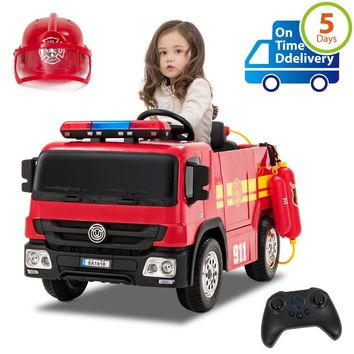 Fire Truck Ride on Cars Electric Kids Car 12V Battery Powered Vehicles Motorized Truck, with Remote Control, Lights...