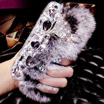 100% Handmade Bling Crystal Fox Rhinestone Genuine Rabbit Fur Case for iPhone 5s 6 6s Plus Samsung Galaxy S6