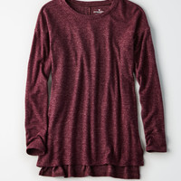 AE Plush Drop Shoulder Crew, Burgundy