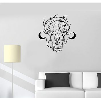 Wall Decal Skull Animal Skeleton Moon Witchcraft Vinyl Sticker (ed1287)