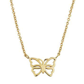 "14K Yellow Gold Butterfly Pendant On 17"" To 18"" Adjustable Necklace"