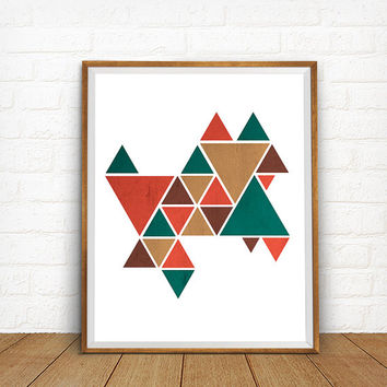 Geometric Print, Triangles Art, Geometric Artwork, Mid-century Art, Modern Home Decor, Abstract Art Poster, Geometric Abstraction Poster