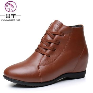 Plus Size 33-43 Women Shoes Woman Genuine Leather Wedges Ankle Boots Casual Height Increasing Boots Women Boots
