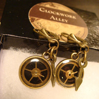 Small Clockwork Gears Vintage Watch Part Gears and Clock Watch Hands Steampunk Style Leverback Earrings (1719)