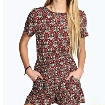 Totem Print Short-Sleeve Zipper Back Romper