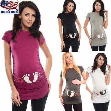 Summer Maternity Footprint Print T-shirt Funny Gift Pregnant Women Top Pregnancy