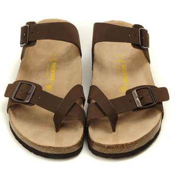 Birkenstock Leather Cork Flats Shoes Women Men Casual Sandals Shoes Soft Footbed Slippers-175
