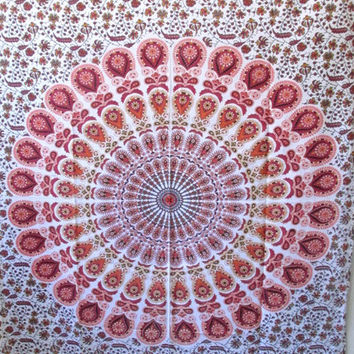 White Hippie Hippy Wall Hanging, Indian mandala Tapestry Throw Bed spread, Dorm Tapestry, Bohemian Tapestry, Vintage Decorative Wall Hanging