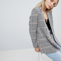 Bershka Check Linen Blazer at asos.com