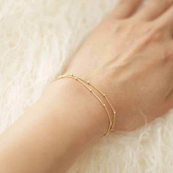 Dainty Double-Layer Satellite Chain Gold Bracelet