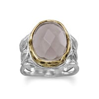 Rhodium Plated and 14 Karat Gold Plated Smoky Quartz Ring