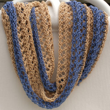 Cowl Handknit Khaki & Blue Spring Summer Cowl Lacy Pima Cotton Handknit Tan and Blue Striped Infinity Circle Scarf Blue Tan Knit Cotton Cowl
