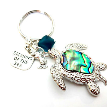 Mermaid Keychain, Beach Charm Keychain, Teal Blue Sea Glass, Sea Turtle Key Chain, Abalone Shell Turtle Pendant, Cool Car Accessories