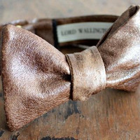 Brown Faux Leather Bow Tie Handmade by Lord Wallington/Stocking Stuffer/Christmas Gifts/Gifts For Men/Men's Bow Ties/Gifts For Him