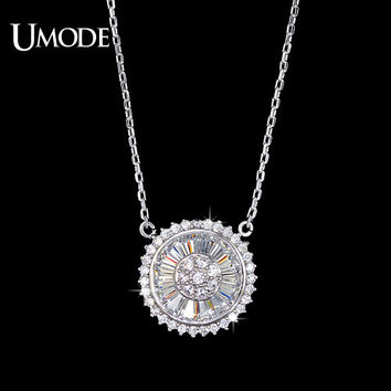 UMODE The Wheel of Sun Pendant Necklaces Cubic Zirconia Pave Round Woman New Arrival Round Shape Party Pendant & Necklace UN0089