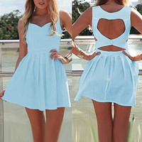 Light Blue Cut Out Sleeveless Mini Dress
