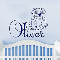 Wall Decal Boy Name Dog Dolmatinets Ball Sticker Personalized Name Nursery Baby Kids Custom Name Vinyl Sticker Decals Home Decor C582