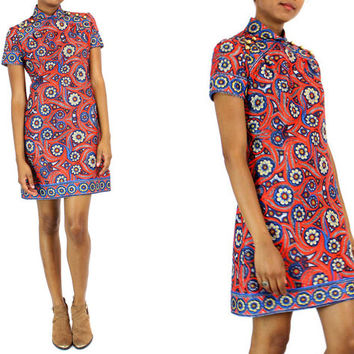 mini shift dress M | psychedelic floral print