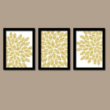 GLITTER Gold Wall Art, CANVAS or Prints Faux Glitter Decor,  Bedroom Pictures, Bathroom Decor, Flower Burst Dahlia Petals Set of 3 Pictures