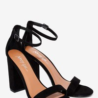 Nasty Gal Take the Strap Vegan Suede Heel - Black