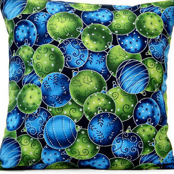 Christmas Ornaments Pillow Cover Blue Green Decorative 16x16