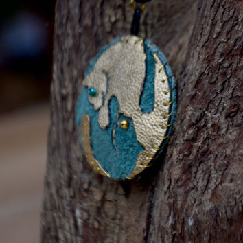 Gemini / twins cat pendant. Real leather, hand painted and gilded