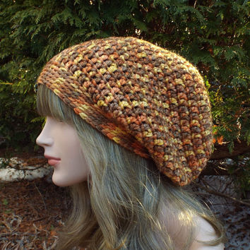 Autumn Multicolor Slouch Beanie - Womens Slouchy Crochet Hat - Oversized Slouchy Beanie - Chunky Hat - Baggy Beanie - Winter Slouchy Hat